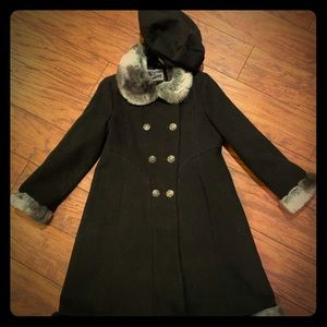 Girls Rothschild fur trimmed dress coat w/ beret